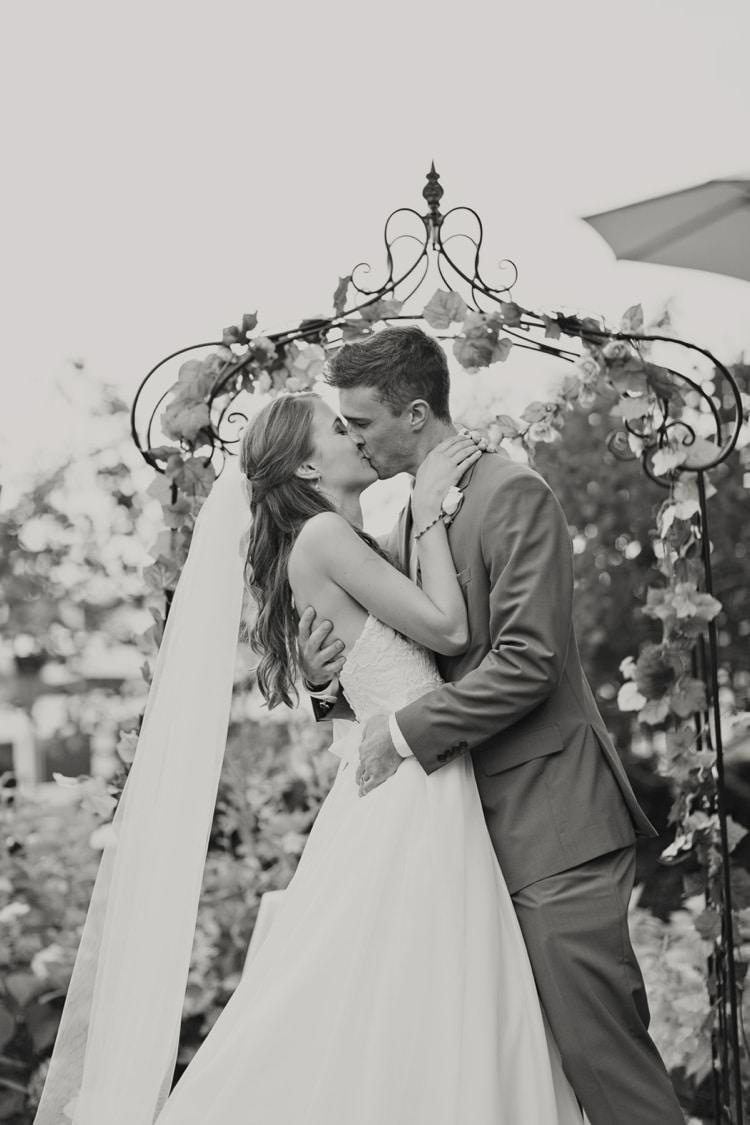 Outdoor Ceremony Arch Flowers Bride Groom Strapless Sweetheart Bridal Gown Veil Elegant Classic Outdoor Wedding Washington http://www.courtneybowlden.com/