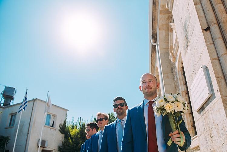 Groom Royal Blue Coat Red Tie Groomsmen Bouquet Beautiful Traditional Greek Destination Wedding in Cyprus http://www.jonnybarratt.com/