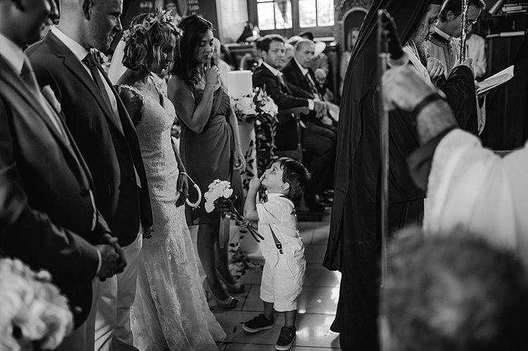 Church Ceremony Bride Stella York Lace Gown Flower Crown Groom Page Boy Beautiful Traditional Greek Destination Wedding in Cyprus http://www.jonnybarratt.com/