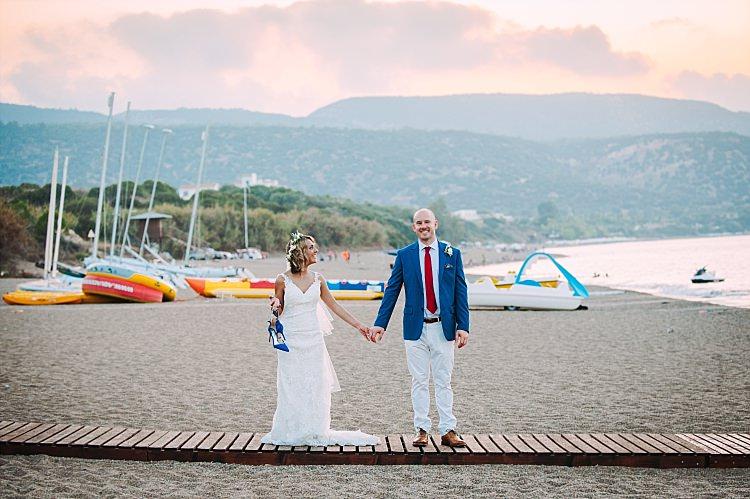 Bride Stella York Lace Gown Badgley Mischka Shoes Groom Royal Blue Coat Red Tie Island Sunset Ocean Beautiful Traditional Greek Destination Wedding in Cyprus http://www.jonnybarratt.com/