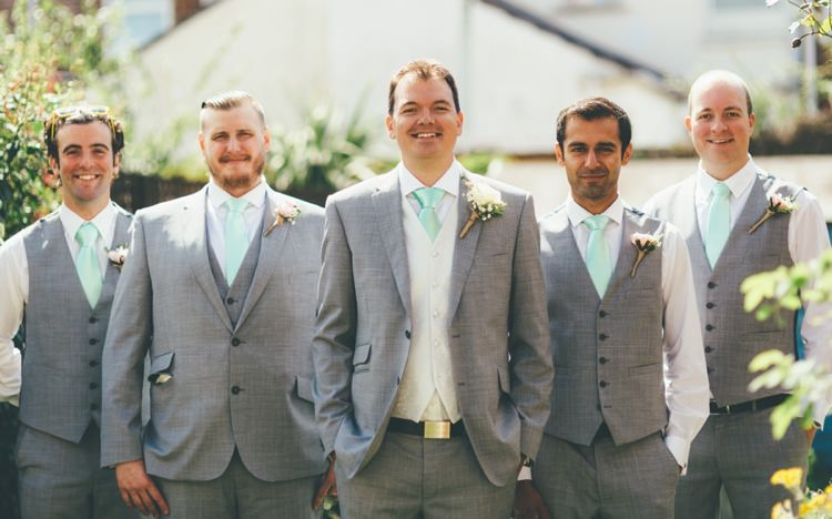 Grey Suit Mint Tie Groom Groomsmen Boho Beer Festival Wedding http://www.emilysteve.com/