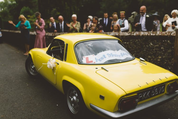 Yellow Classic Car Boho Beer Festival Wedding http://www.emilysteve.com/