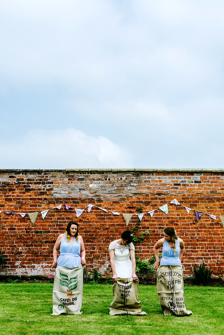 Sack Race Bridesmaids Game Bride Rustic Relaxed Country Garden Wedding http://www.dmcclane.com/