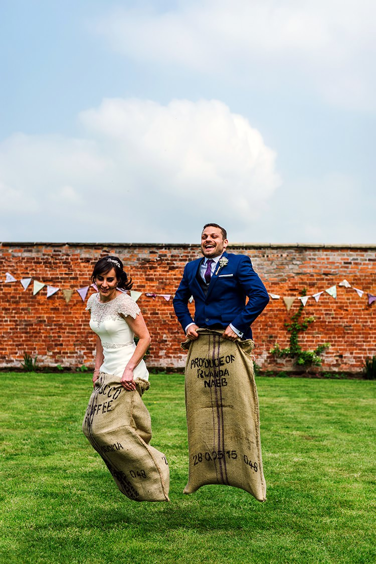Sack Race Game Bride Groom Rustic Relaxed Country Garden Wedding http://www.dmcclane.com/