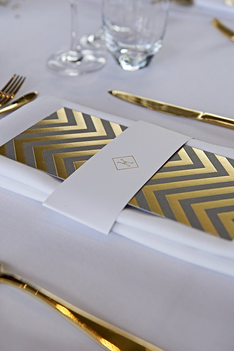 Chevron Stationery Place Setting Modern Mint Gold Grey City Wedding http://www.studiocano.co.uk/