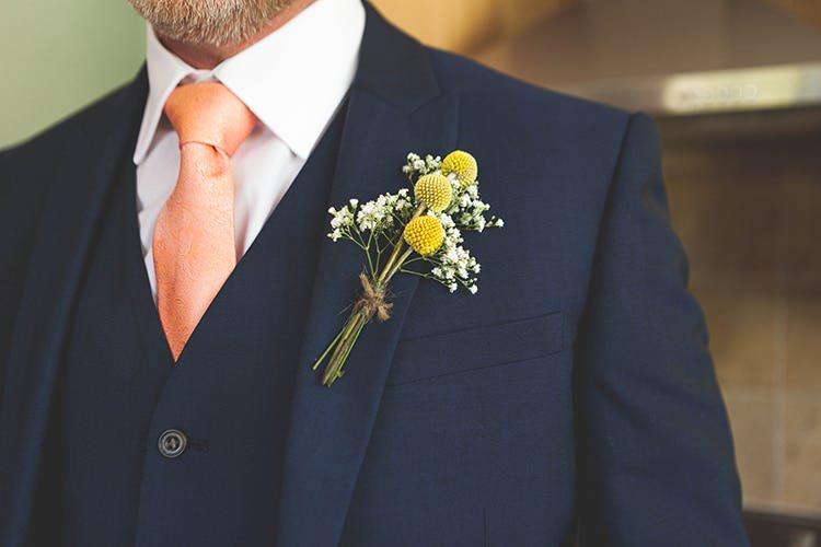 Billy Ball Gyp Gypsophila Buttonhole Groom Navy Yellow Sunflowers Brewery Wedding http://www.jemmakingphotography.co.uk/