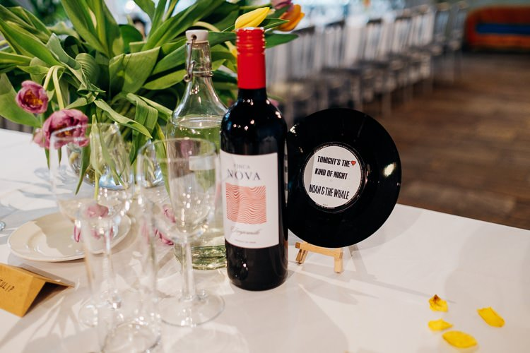 Vinyl Table Names Songs Quirky Music City Wedding http://www.mariannechua.com/