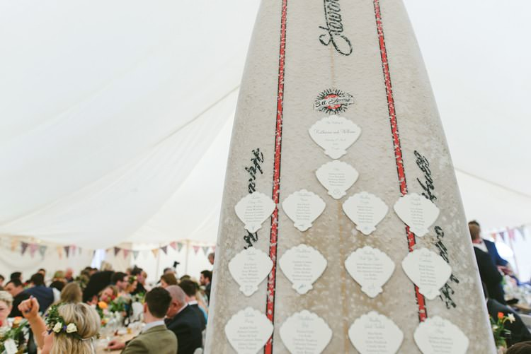 Surf Board Table Seating Plan Chart Indie Rustic Beach Marquee Wedding http://www.abiriley.co.uk/