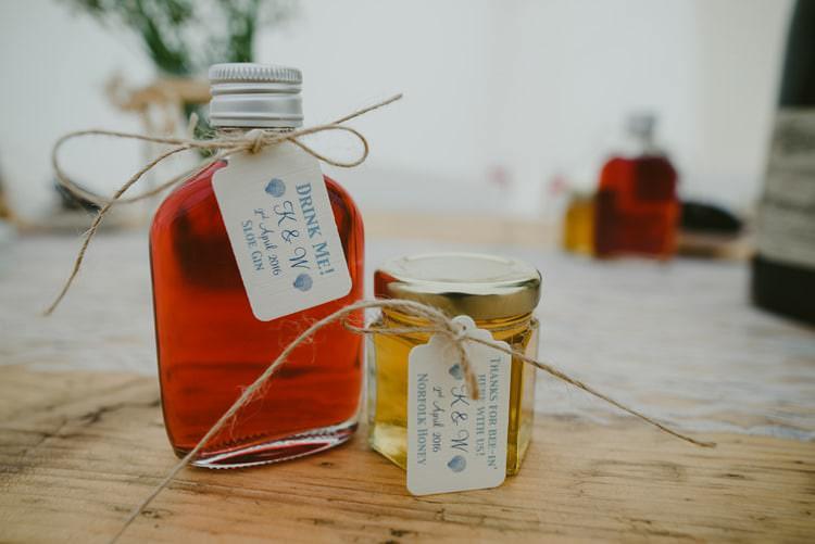 Drink Favours Jin Honey Jar Indie Rustic Beach Marquee Wedding http://www.abiriley.co.uk/