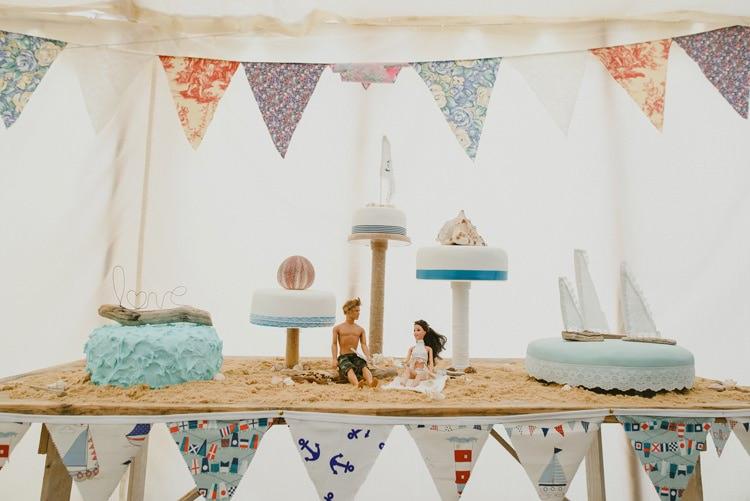 Seaside Cake Table Sand Indie Rustic Beach Marquee Wedding http://www.abiriley.co.uk/
