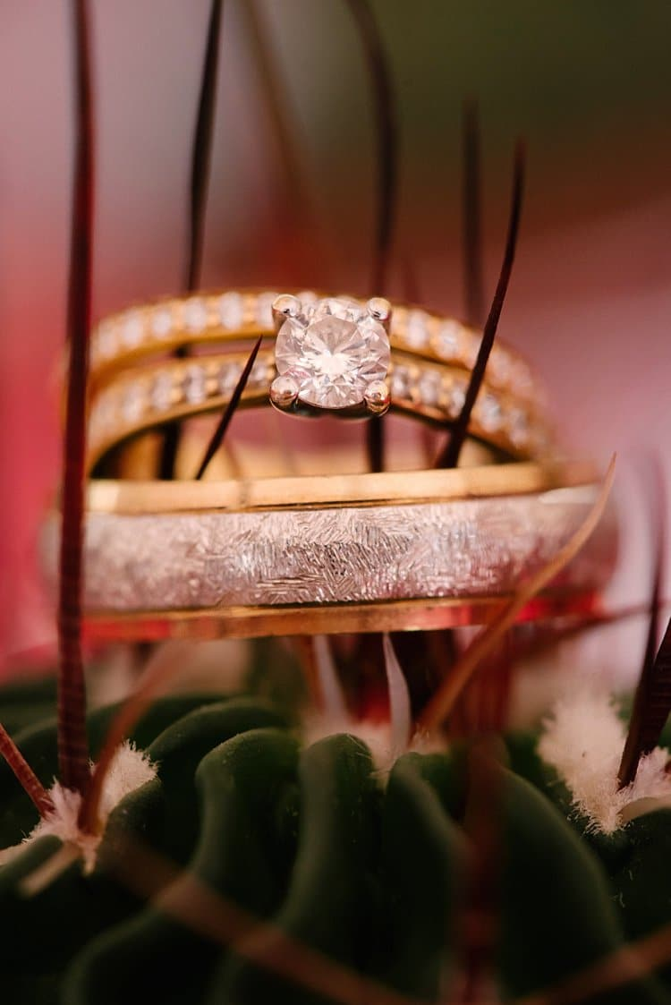 Yellow Gold Diamond Rings Band Engagement Tropical 1920s Pink Budget Wedding http://lilysawyer.com/