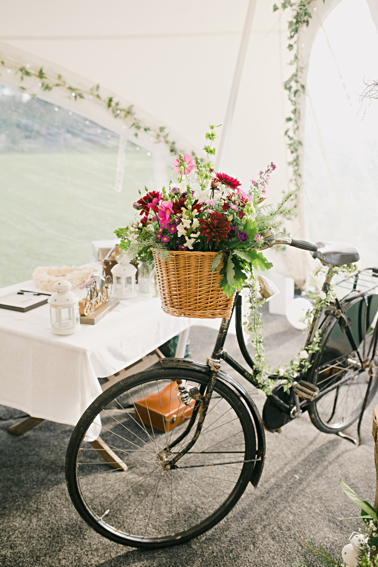 Flowers Bike Basket Decor Beautiful Bicycle Country Marquee Wedding http://www.emmabphotography.com/