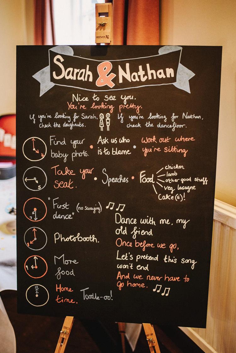 Sign Black Chalk Board Creative Crafty Village Hall Wedding http://andygaines.com/