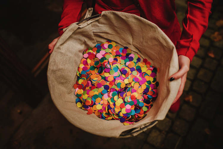 Colourful Confetti Circles Creative Crafty Village Hall Wedding http://andygaines.com/