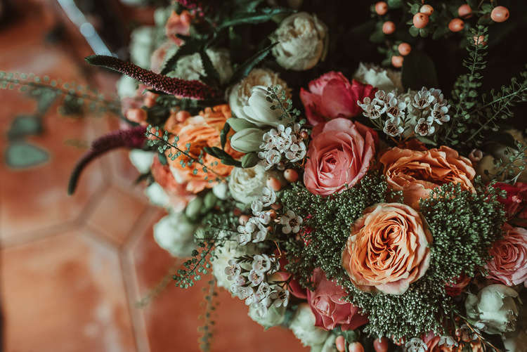 Bouquet Flowers Bride Bridal Peach Rose Cream Beautiful Stylish Country Marquee Wedding http://jesssoperphotography.com/