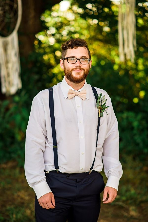Groom Navy Pants Suspenders Cream Bow Tie Greenery Buttonhole Glasses Outdoors Ethereal Boho Wedding Ideas http://perfectcapturephoto.com/