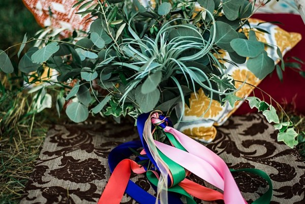 Bouquet Greenery Leaves Multicoloured Ribbons Patterned Cushions Rug Grass Ethereal Boho Wedding Ideas http://perfectcapturephoto.com/