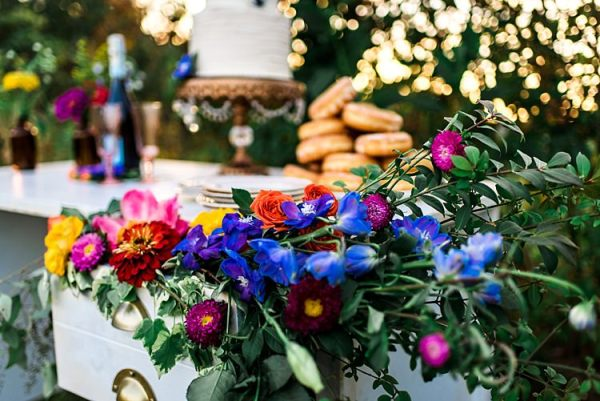 Dessert Table Decorated With Multicoloured Florals Wedding Cake Gold Stand Donuts Wine Ethereal Boho Wedding Ideas http://perfectcapturephoto.com/