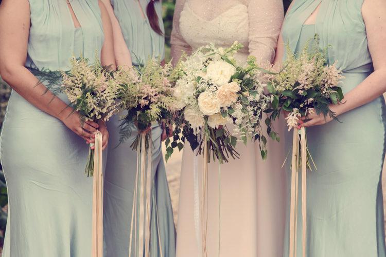 Bouquets Flowers Bride Bridesmaid Ribbons Peony Rose Astilbe Homespun Mint Yurt Wedding http://www.jessicaraphaelphotography.com/