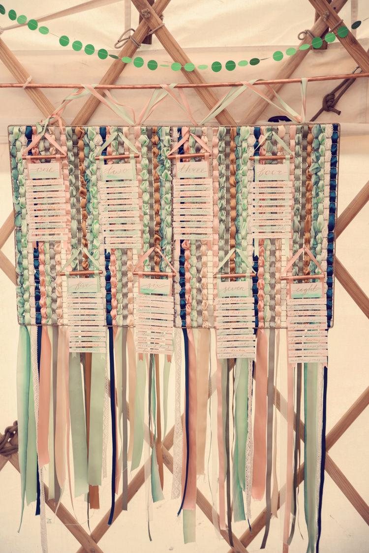 Woven Ribbon Seating Plan Chart Table Hanging Homespun Mint Yurt Wedding http://www.jessicaraphaelphotography.com/