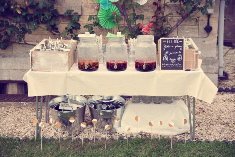Bar Station Drink Dispensers Homespun Mint Yurt Wedding http://www.jessicaraphaelphotography.com/