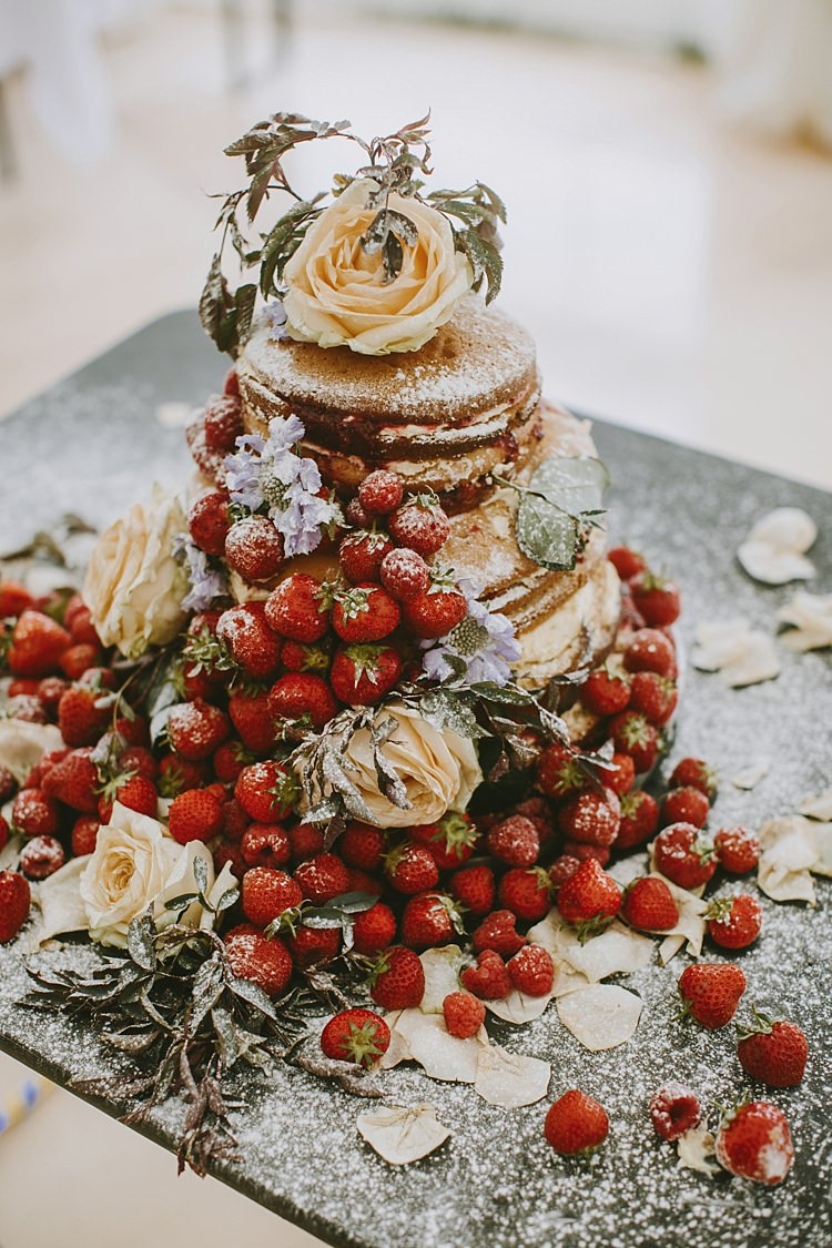 Naked Cake Fruit Berries Sponge Layer Beautiful Bohemian Beach Glamping Wedding http://www.thecurries.co/