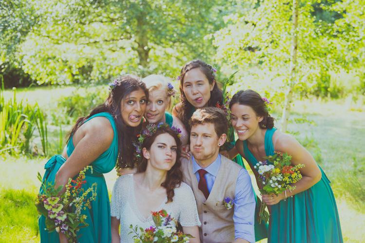 Emerald Green Multi Way Bridesmaid Dresses Colourful Woodland Humanist Wedding http://sashaweddings.co.uk/