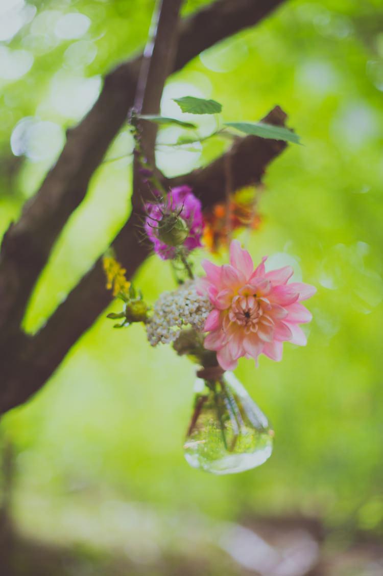 Hanging Flowers Bottles Dahlia Colourful Woodland Humanist Wedding http://sashaweddings.co.uk/
