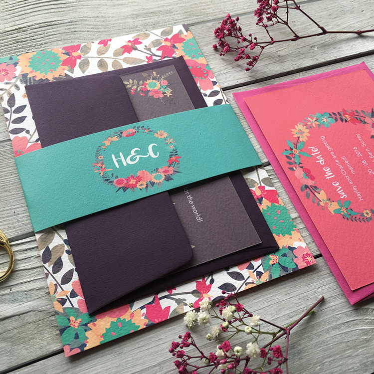 Pretty Wedding Stationery Invitations Lily and Jack's Paper Studio UK Vibrant Blooms Graphic Colourful Floral