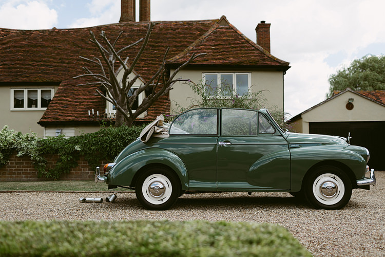 Green Morris Minor Car Transport Bohemian Outdoor Blessing Garden Wedding http://www.lukehayden.co.uk/