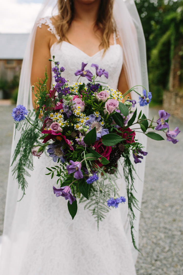 Bouquet Flowers Bride Bridal Blue Purple Red Natural Wild Mismatched Berry DIY Wedding http://www.colinianross.com/