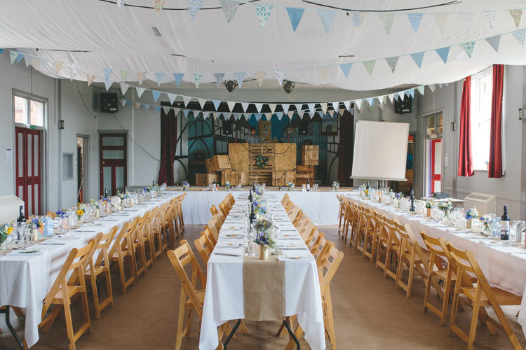 Village Hall Bunting Tables Home Made Vintage Pale Blue Wedding http://www.elliegracephotography.co.uk/
