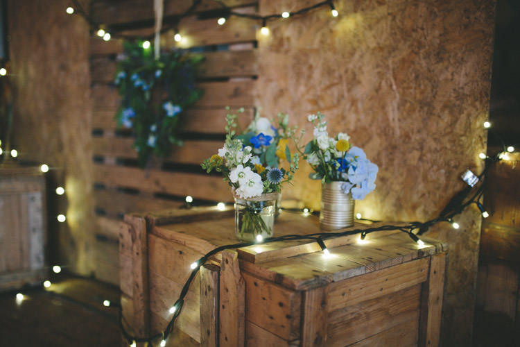 Jar Tin Flowers Fairy Lights Crates Home Made Vintage Pale Blue Wedding http://www.elliegracephotography.co.uk/