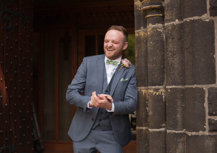 Blue Suit Bow Tie Groom Pastel Marquee Garden Party Wedding https://www.deliciousphotography.co.uk/