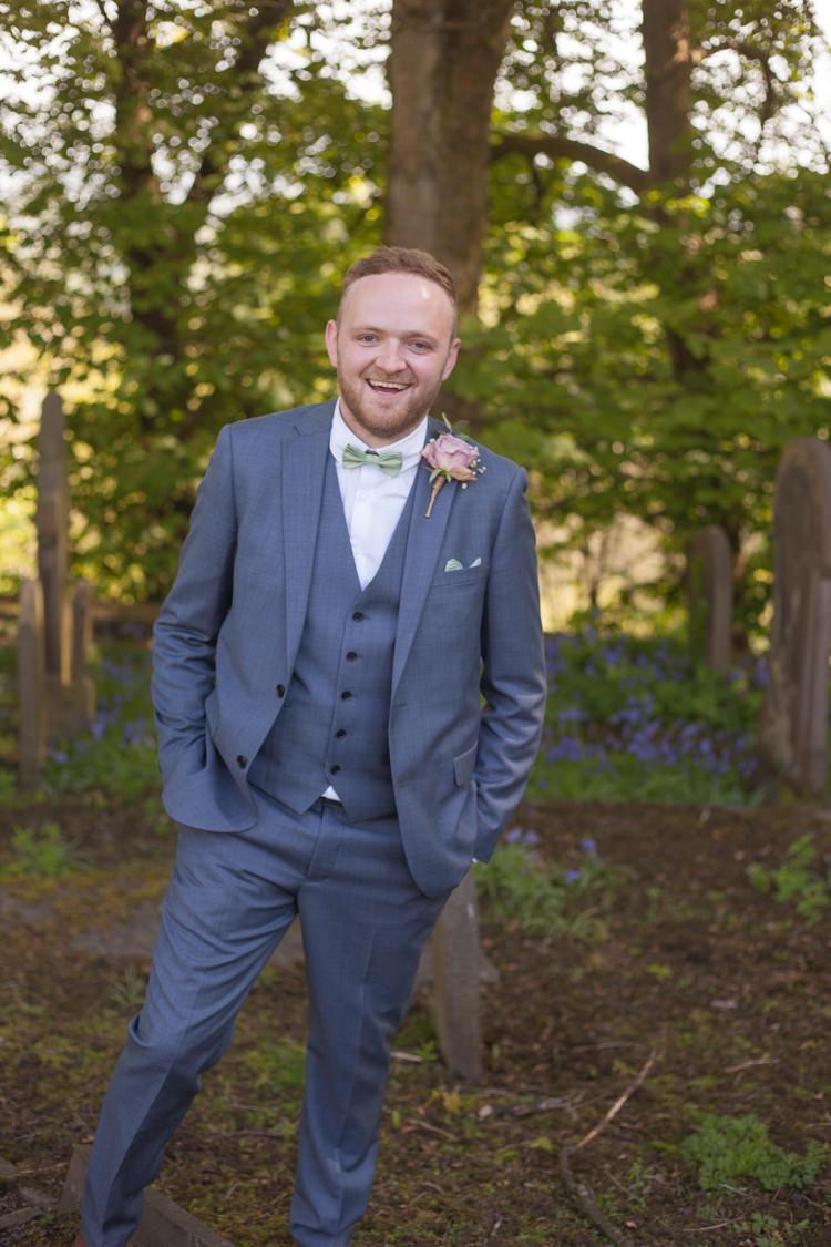 Blue Suit Green Bow Tie Groom Pastel Marquee Garden Party Wedding https://www.deliciousphotography.co.uk/