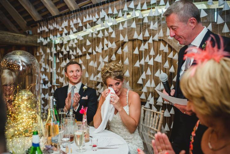 Paper Cone Backdrop Top Table Magical Fun Outdoor Barn Wedding http://www.sophieduckworthphotography.com/