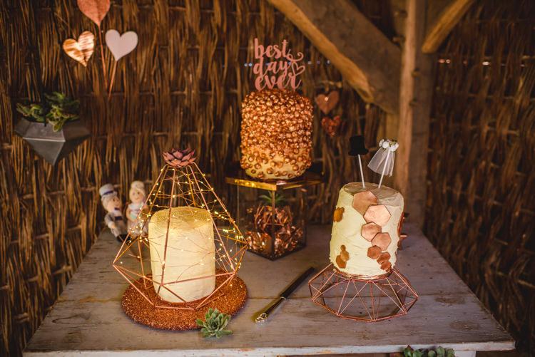 Cake Table Rose Gold Magical Fun Outdoor Barn Wedding http://www.sophieduckworthphotography.com/