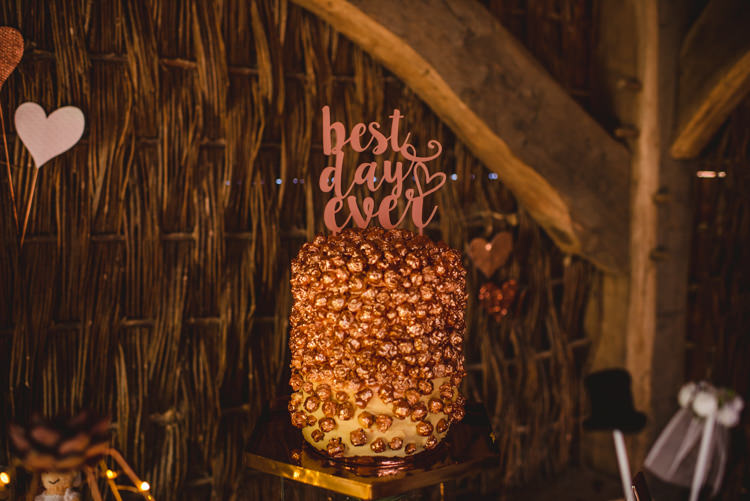 Rose Gold Cake Best Day Ever Topper Magical Fun Outdoor Barn Wedding http://www.sophieduckworthphotography.com/