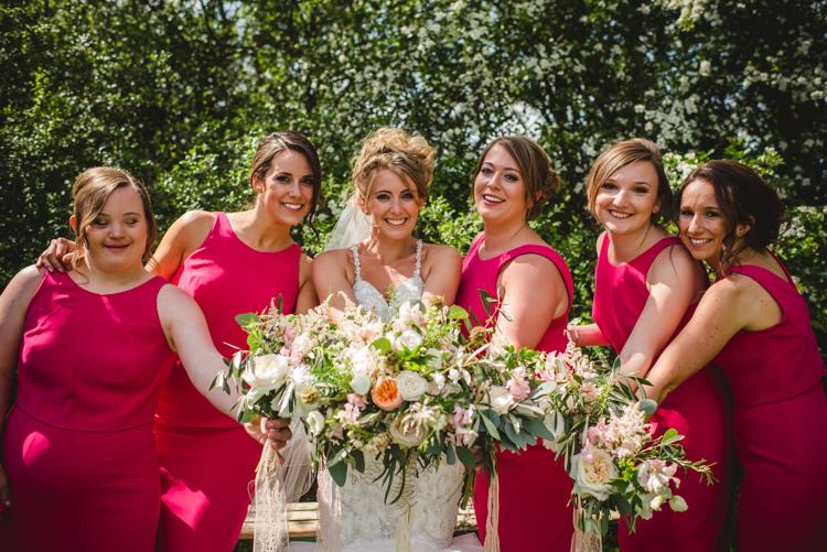 Bouquets Bride Bridal Bridesmaids Pink Magical Fun Outdoor Barn Wedding http://www.sophieduckworthphotography.com/