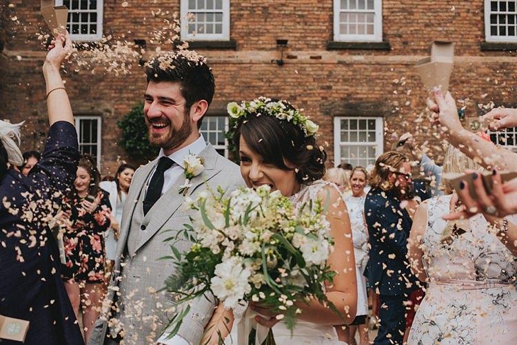 Petal Confetti Throw Industrial Cool Mill Greenery Wedding http://www.beckyryanphotography.co.uk/