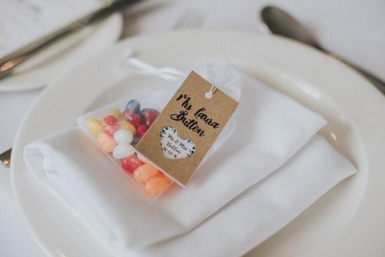 Jelly Bean Favours Industrial Cool Mill Greenery Wedding http://www.beckyryanphotography.co.uk/
