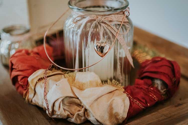 Jar Candle Rose Gold Autumn Barn Wedding http://www.weddingphotographyincheltenham.co.uk/