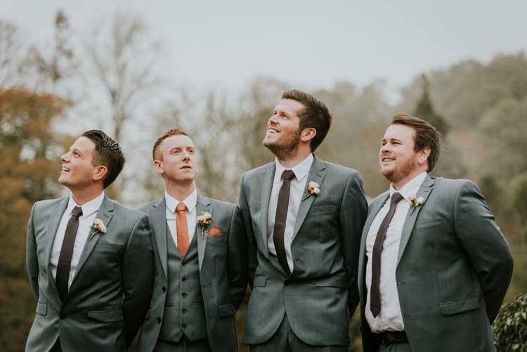Grey Groom Groomsmen Suits Rose Gold Autumn Barn Wedding http://www.weddingphotographyincheltenham.co.uk/