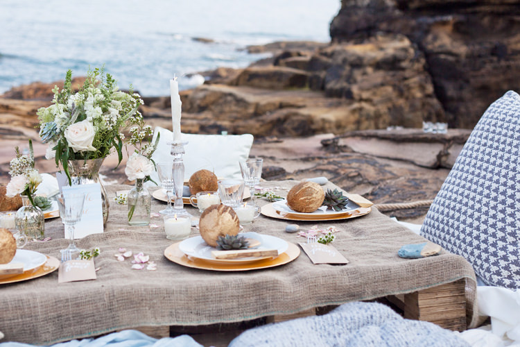 Decor Tablescape Hessian Coconut Succulent Driftwood Calligraphy Luxe Bohemian Beach Wedding Ideas http://www.zoeemilie.co.uk/
