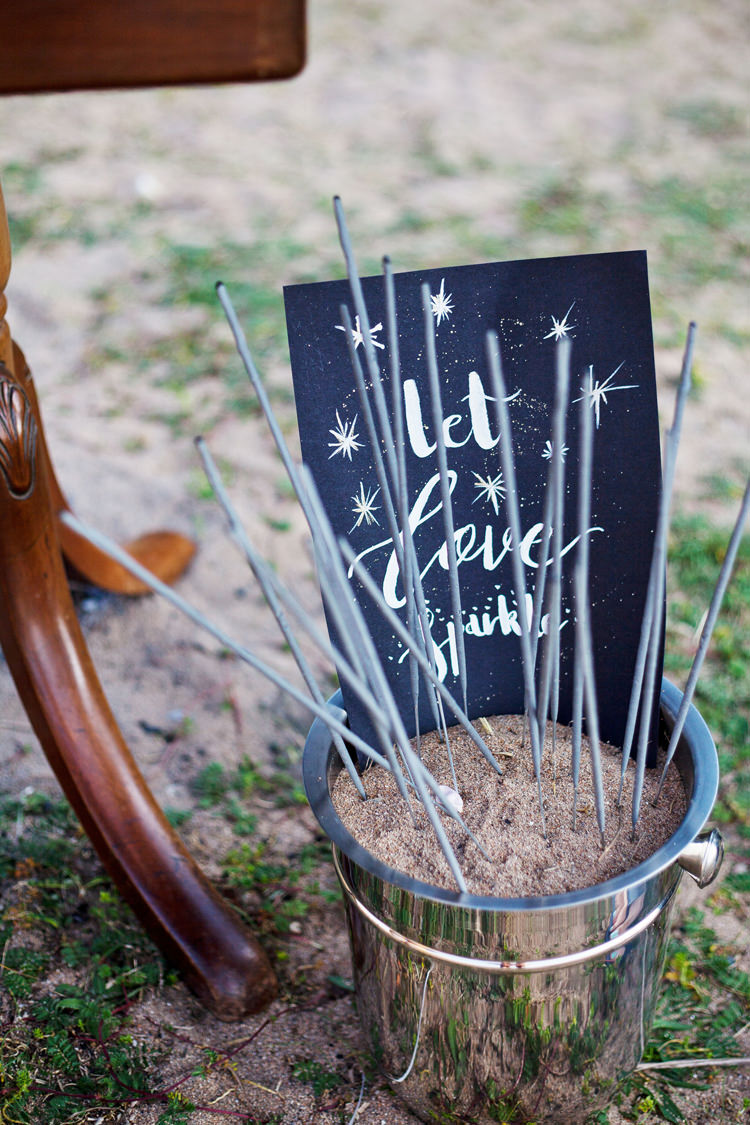 Sparklers Let Love Sparkle Bucket Luxe Bohemian Beach Wedding Ideas http://www.zoeemilie.co.uk/