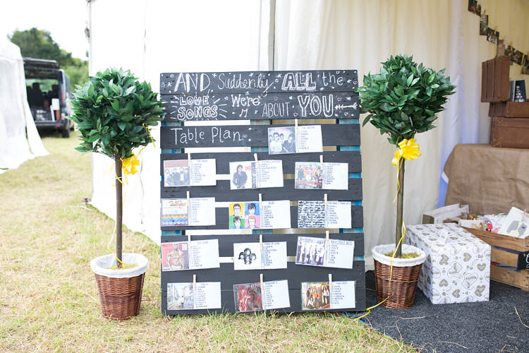 Seating Plan Table Chart Pallet Photo Album Music Summer Sunflowers Marquee Wedding http://maddiewaters.co.uk/