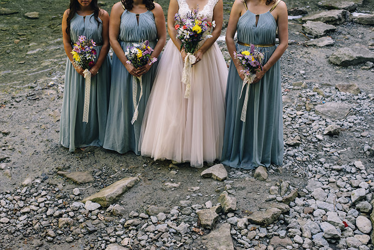 Bride Allure Champagne Lace Tulle Bridal Gown Multicoloured Floral Bouquet Lace Ribbon Bridesmaids Grey Gold Dresses Bouquets Woodland Waterfall Mint Wedding Ontario http://www.laurenmccormickphotography.com/