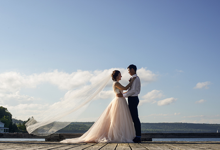 Bride Allure Champagne Lace Tulle Bridal Gown Long Veil Groom White Shirt Brown Leather Suspenders Navy Pants Multicoloured Floral Buttonhole Woodland Waterfall Mint Wedding Ontario http://www.laurenmccormickphotography.com/