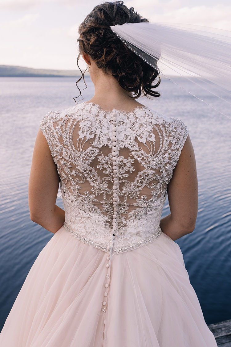 Bride Allure Champagne Lace Tulle Bridal Gown Buttons Veil Soft Hairstyle Woodland Waterfall Mint Wedding Ontario http://www.laurenmccormickphotography.com/