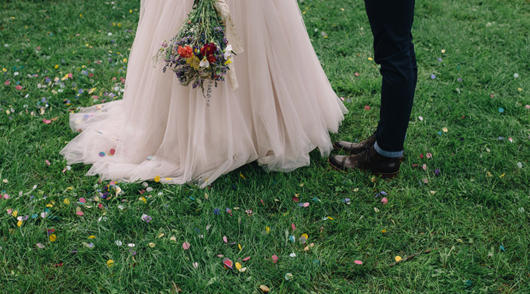 Bright Confetti Bride Allure Champagne Lace Tulle Bridal Gown Multicoloured Floral Bouquet Lace Ribbon Groom Navy Pants Leather Shoes Woodland Waterfall Mint Wedding Ontario http://www.laurenmccormickphotography.com/